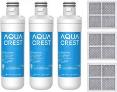 AQUACREST Refrigerator Water Filter and Air Filter, Replacement for LG LT1000P, LT1000PC, LT-1000PC and LT120F