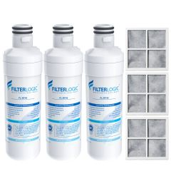FilterLogic Refrigerator Water Filter and Air Filter, Replacement for LG LT1000P, LT-1000PC MDJ64844601 and LT120F