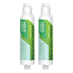 AQUACREST  Garden Hose Water Filter, Reduces Chlorine, Odor, Calcium, Ideal for RVs, Farming and Pets