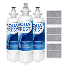 AQUACREST Refrigerator Water Filter and Air Filter, Replacement for LG LT700P, Kenmore 9690, 46-9690, ADQ36006102 and LT120F, 3 Combo