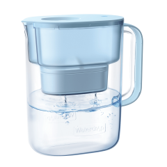 Water Pitcher with Filter, 200-Gallon Long-Life Lucid 10-Cup, Reduces Lead, Fluoride, Chlorine and More, BPA Free, Blue