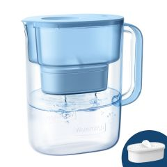 Waterdrop Lucid Water Pitcher with Filter, 200-Gallon Long-Life 10-Cup, Reduces Lead, Fluoride, Chlorine and More, BPA Free, Blue WD-PT-07