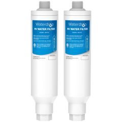 Waterdrop RV Inline Water Filter with Flexible Hose Protector, Campers, Gardening, Boats, RVs KDF Filter